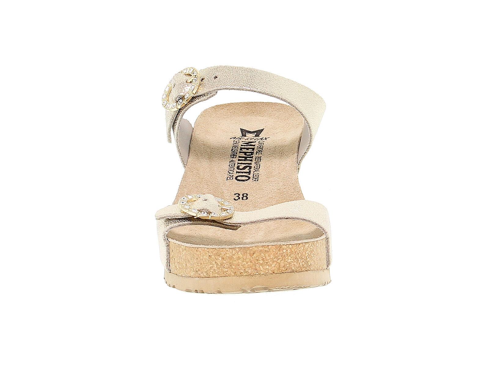 Sandalo con tacco MEPHISTO LIDIA VENISE in pelle laminata platino - Scarpe Donna