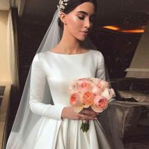Simple Vintage White Ivory A-line Long Sleeves Royal Satin Castle Bridal Gown image 6