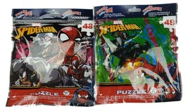 """Lot of 2 New Marvel Spiderman 48 Piece Puzzles Resealable Bags 9""""x10"""" - $8.90"""