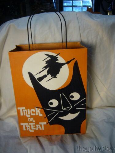 Bethany Lowe Large Tin Halloween Treat Bag Black Cat Witch