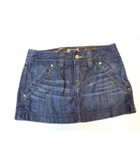 W13117 Womens EXPRESS X2 Blue Denim Cotton GOLD Hardware MINI JEAN SKIRT 0 - $28.96