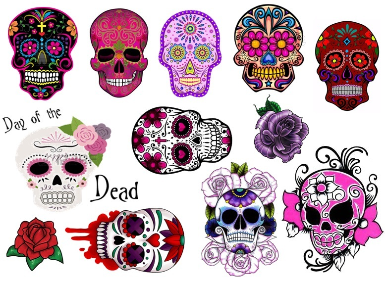 Sugar Skull C2 Day Of The Dead Temporary and 50 similar items