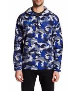 Puma Mens S Blue Army Camo 1.FCH Savannah Half Zip Pullover Hooded Jacket - $103.55