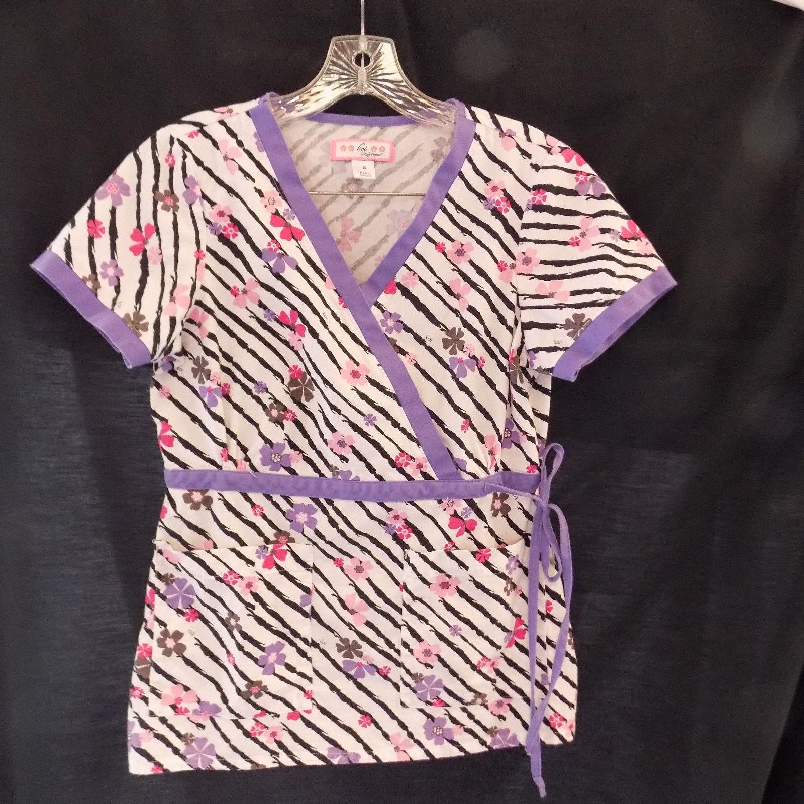 589544ab406 Koi Katelyn Scrub Top Purple Black Striped and 50 similar items