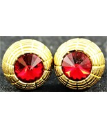 Gold Tone & Red Stone Cuff Links Costume Jewelry Vintage Free Shipping - $12.86