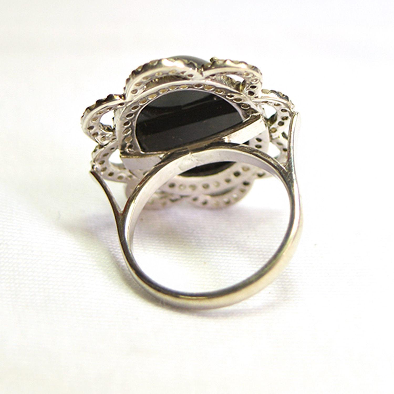 Onyx Gemstone Pave Diamond Designer Silver Wedding Ring