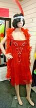 Vintage , Beaded & Fringed 1920's Dress , Red, UK size 14/16  - $38.94