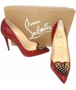 Christian Louboutin Coralta Mia Pumps 100 Red Glitter Red Heart Heels Pu... - $559.99