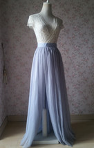 Adult Maxi Tulle Skirt with Slit Silver Gray Bridal High Slit Tulle Skirt Plus  image 3
