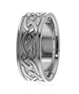 14K SOLID WHITE GOLD MENS 9MM CELTIC WEDDING BANDS RING MANS CELTIC WEDD... - $695.34
