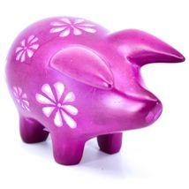 Tabaka Chigware Hand Carved Kisii Soapstone Fuchsia Pig Figure Made in Kenya image 4