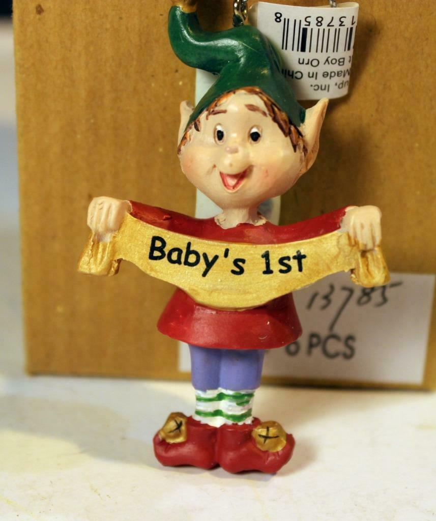 Primary image for CHRISTMAS ORNAMENTS WHOLESALE- RUSS BERRIE- #13785- 'BABY'S 1ST'- (6) - NEW -W74