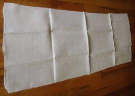 Large vintage antique Irish linen damask hand towel Celtic clover tea dish 40X17 image 2