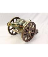 Courvoisier Cognac 1/2 Gallon Bottle Decanter Wood Brass Cannon Display ... - $117.59