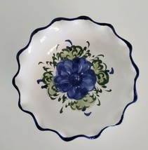 Bowl Blue Flower Hand Painted Vestal Alcobaca Bowl Portugal Small Trinke... - $8.75