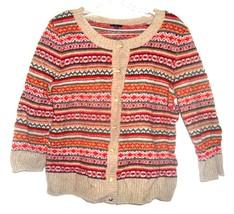 Sz L - Talbots Light Brown w/Red & Green Geometric Patterns Striped Sweater  - $28.49