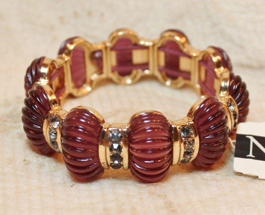 Napier Ribbed Stretch Bracelet Simulated Crystals Translucent Purple