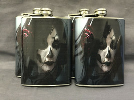 Set of 4 Sugar Skull D 1 Flasks 8oz Stainless Steel Drinking Whiskey - $26.68
