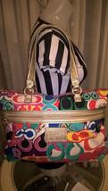 Rare HTF COACH Poppy Graffit Colorful CC Handbag Gold Glitter handles F2... - $98.99