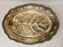 Vintage FB Rogers Silver Co 1883 Silver Plated Footed Oval Tray Leaf Design - $31.67