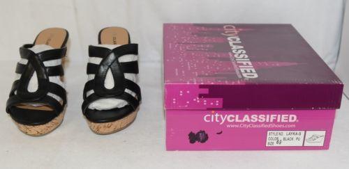City Classified Layka S Black Sandal Wedge Heel Size 6 And Half