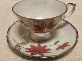 Vintage Japanese LUSTERWARE teacup and saucer UNMARKED fine condition  - $10.64