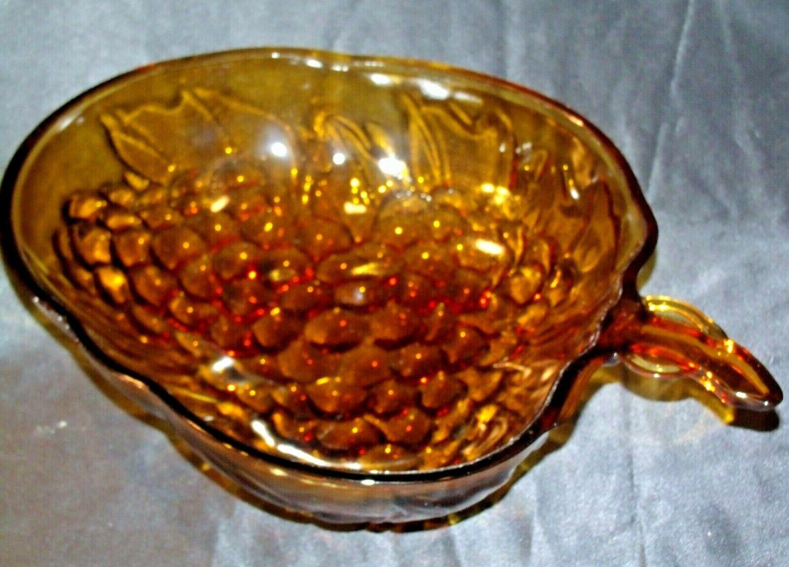Amber Glass Grape Cluster Shape Large Centerpiece Bowl AA19-CD0045 Vintage