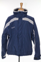 Columbia Mens Jacket Windbreaker Blue Grey Full Zip Hook Loop Cuff Draws... - $22.98