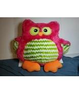 Dan Dee Owl Pink w/ Green Chevron Plush Pillow Stuffed Animal Soft Toy 1... - $14.75