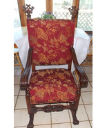 Walnut Carved Throne / Entry / Hall / Dinette Chair  (AC116) - $1,495.00