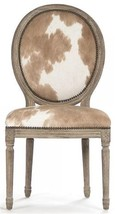 Side Chair Dining AUDRIC Limed Gray Oak Cowhide Leather New - $1,949.00