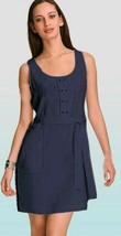 $268 Elie Tahari Verona Chambray Blue Sleeveless Tencel Belted Dress 10 - $89.25