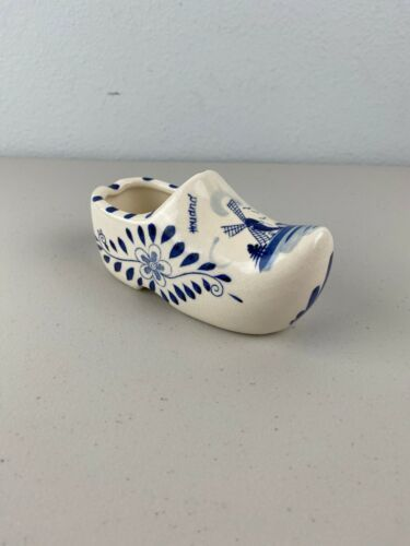 Primary image for Vintage Handpainted Delft Blue Holland Ceramic Clog Shoe Ashtray Windmill Floral