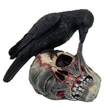 Pacific Giftware Halloween Raven on Zombie Skull Statue Figurine, Black - $16.04