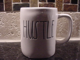 Rae Dunn HUSTLE Rustic Mug, Ivory with Black Letters, New! - $13.00