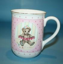 Otagiri Griffith Teddy Bear Coffee Mug Cup Gibson Card Japan Pink Heart Gold Rim - $14.48