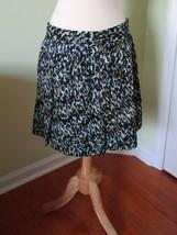 Ann Taylor Loft cotton skirt purple white aqua black 10 lined graphic splatter - $12.84