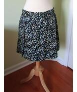 Ann Taylor Loft cotton skirt purple white aqua black 10 lined graphic sp... - $12.84