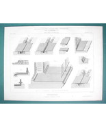 ARCHITECTURE PRINT 1866: ROOFS Roofing of Terraces Lead Sheet Metal Details - $10.13