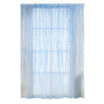 (blue)4 Colors Pastoral Style Willow Floral Print Tulle Curtains for Bed... - $18.00