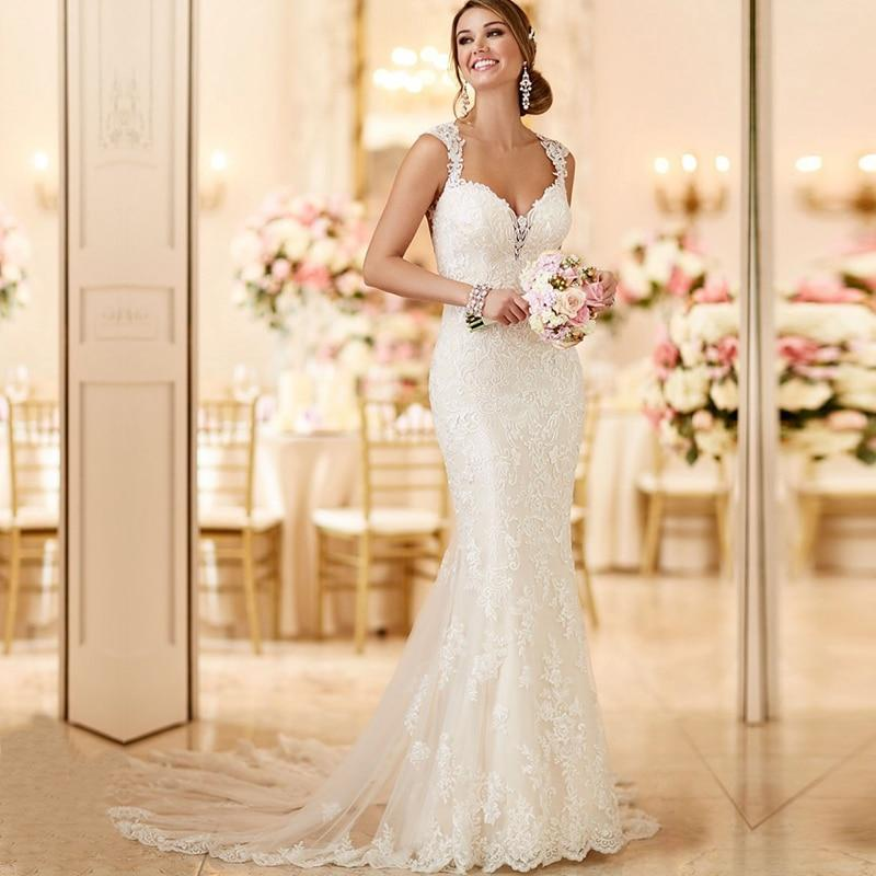 Ryanth cheap vestido de noiva sexy open back lace mermaid wedding dress 2019 beach long train