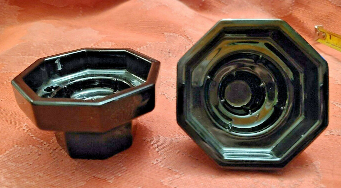 2 Vtg Black Octagonal Glass Candle Holders Made in France