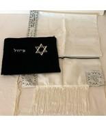 Tallit Set Matching Bag Embroidered Black White Silver Prayer Shawl Bar ... - $59.99