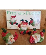 Fitz and Floyd Holiday Elf Tumbling Elves Old World Set of 3 Playful col... - $35.63