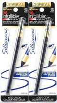 2 L'Oreal Infallible Silkissime Bold Color Silky Pencil Eyeliner 220 Plum - $18.99
