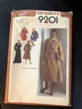 1979 Simplicity Sewing Pattern 9201 SZ 42 Wrap Coat Uncut - $5.89