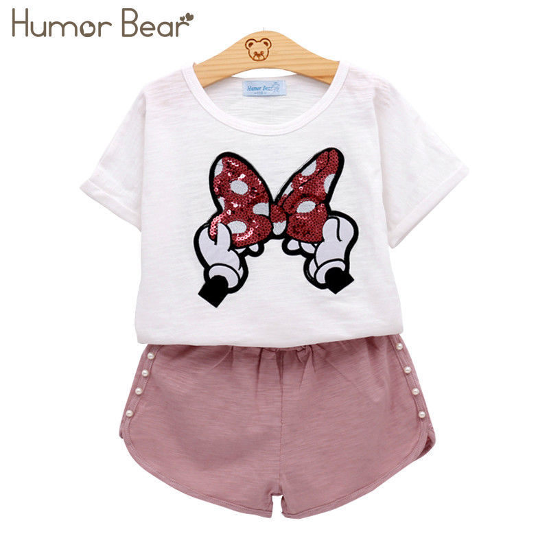 Primary image for Girls Kids Baby Clothes Suit Set Cute Bow Short Sleeve T-shirt Pant Cartoon