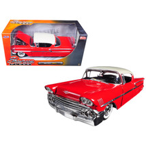 1958 Chevrolet Impala Red Showroom Floor 1/24 Diecast Model Car by Jada ... - $37.75
