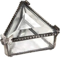 J Devlin Box 517 Triangle Glass Ring Box with Butterfly Jewelry Keepsake... - $30.40