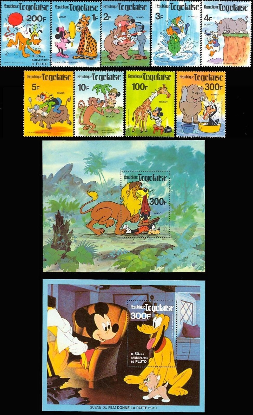TOGO DISNEY CHARACTERS SET OF 9 & TWO SOUVENIR SHEETS #1064-72A + PLUTO STAMP!